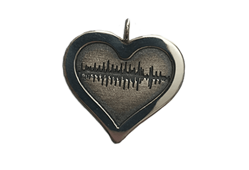 Soundwave Art Heart Pendant